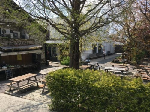 熊澤酒造内の広場をオフィス方面に向け撮影