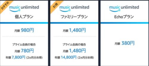 Amazon_Music_Unlimitedの料金画像