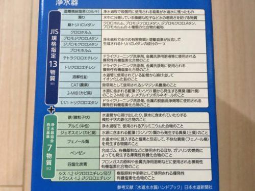 パナソニック浄水器「TK-CJ23」箱裏に書かれている除去物質一覧