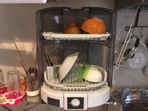象印「食器乾燥機」を扉を全開にした図